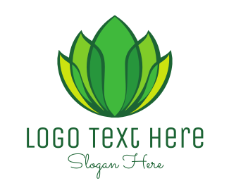 Yard - Green Yellow Leaf Lotus logo design