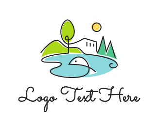 Lodge - Mediterranean Pond logo design