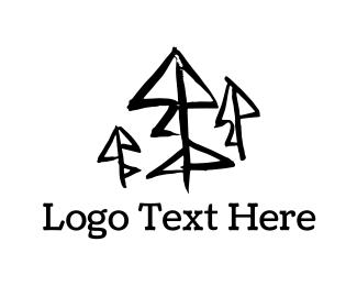 Trio - Black Pine Trees logo design