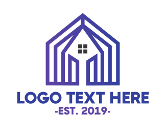 Residence - Blue House Pattern logo design
