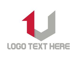 Letter U - 1 & V logo design