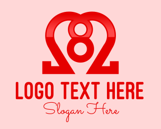Number 8 - Heart Number 8 logo design