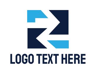 Two - Blue Square Arrow Two logo design