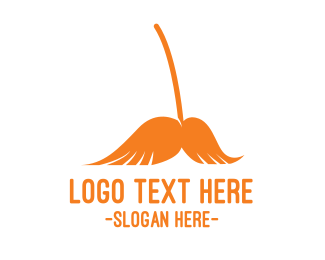 Sweeper - Mustache Broom logo design