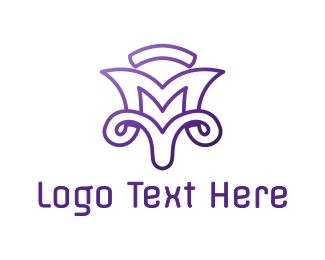 Pedicure - Violet M Outline logo design