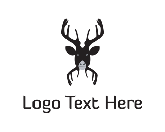 Antlers - Black Moose logo design