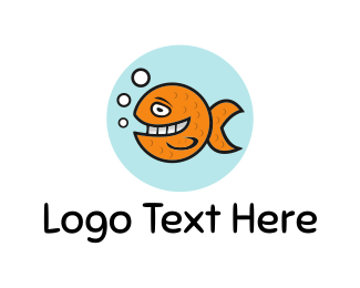 Fishbowl - Happy Goldfish logo design