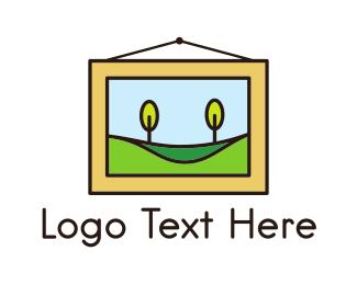 Painting - Landscape Painting Frame logo design