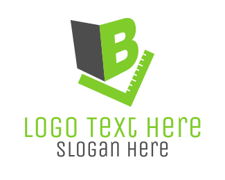 School - Letter B & Green Rule logo design