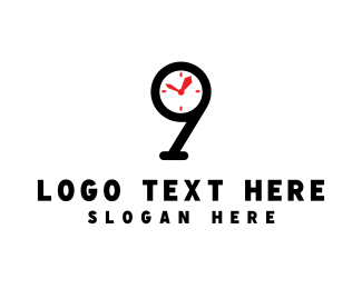Minute - Clock Number 9 logo design