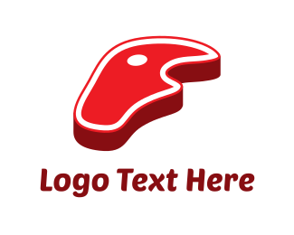 Meat - Red Steak logo design