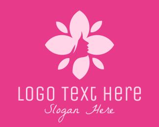Female - Pink Female Flower  logo design