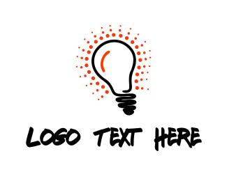 Glow - Red Glow Bulb logo design