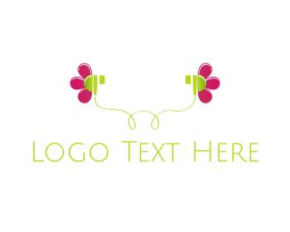 Radio - Flower Earphones logo design