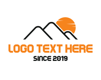 Hiking - Mountain Sunrise logo design