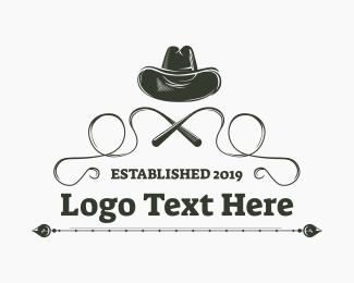 Rodeo - Cowboy Hat & Whip logo design