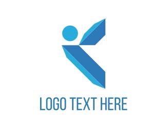 Skating - Blue Crystals logo design