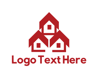 Townhouses - Red Houses logo design