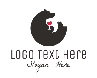 Bar - Bear Wine logo design