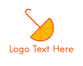 Umbrella - Orange Umbrella logo design