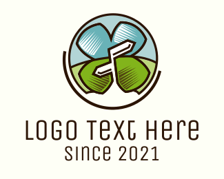 Four Leaf Clover - Lucky Tourist logo design
