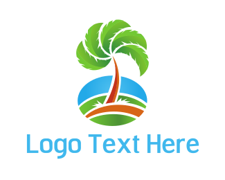Island - Tropical Fan Palm logo design