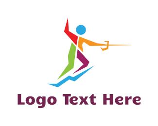 Fence - Colorful Fencer logo design