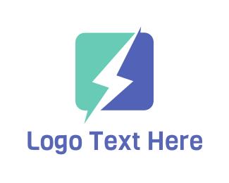 Energy - Square Lightning logo design