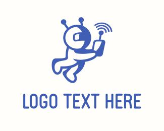 Tracker - Astronaut Signal logo design