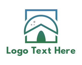 Primitive - Green Nipa Hut logo design