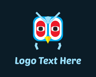 Heron - Blue Owl Cartoon logo design