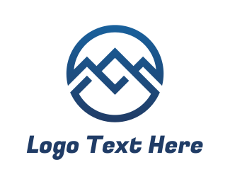 Mother Nature - Blue Infinity Circle Mountain logo design