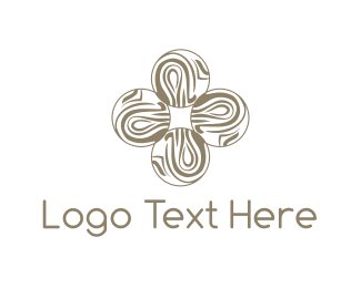 Mandala - Wooden Flower Cross logo design