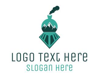 Railway - Mountain Train logo design