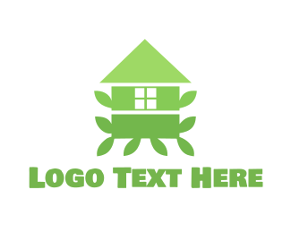 Feng Shui - Green Leaf House logo design