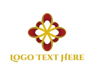Bow - Golden Flower logo design