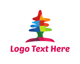 Pine Tree - Colorful Tree logo design