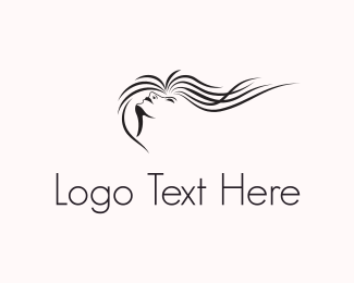 Girl - Wavy Hair logo design