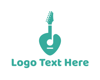 Guitarist - Turquoise Rock Guitar logo design