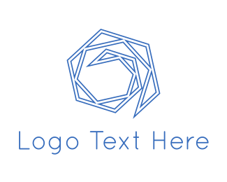 Polygon - Blue Maze logo design
