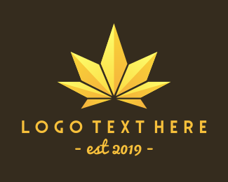 Hemp - Golden Marijuana Leaf logo design