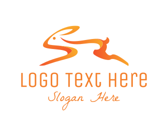Hare - Orange Bunny logo design