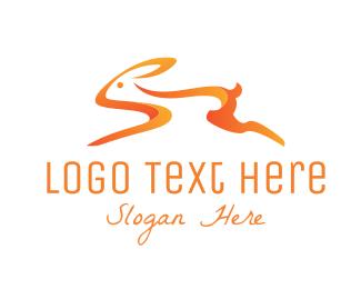 Hare - Orange Bunny logo design
