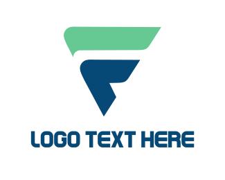 Letter F - Blue Triangle logo design