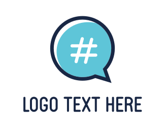 Multimedia - Chat & Hashtag  logo design