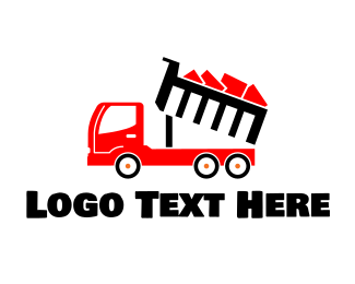 Rubbish - Red Dump Truck logo design