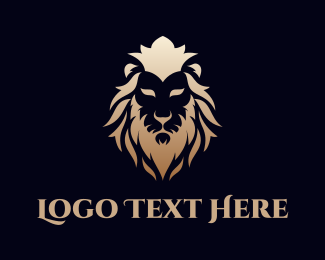 Luxury - Gold Lion Face logo design