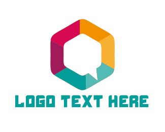 Talk - Hexagon Chat logo design