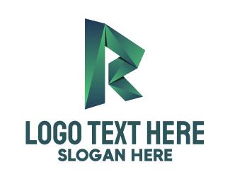 Folding - Origami Letter R logo design