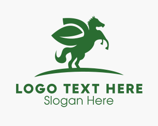 Pony - Horse Leaf logo design